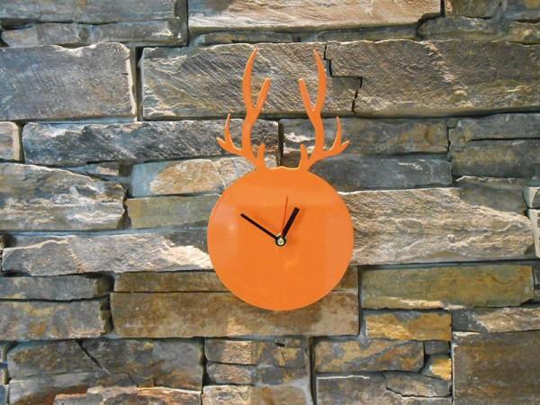 Uhr Hirschkopf orange